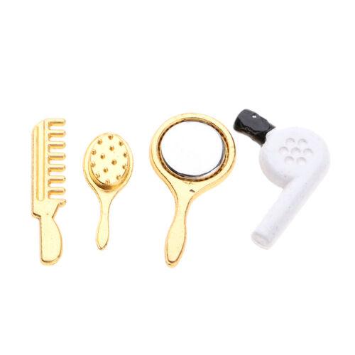 Dollhouse Miniature Comb Mirror Hair Dryer Set Doll House Bathroom Accessory