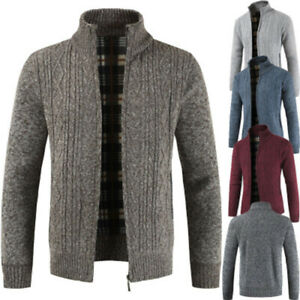 Men-039-s-Casual-Slim-Full-Zip-Thick-Knitted-Cardigan-Sweaters-Jacket-Coffe-2XL