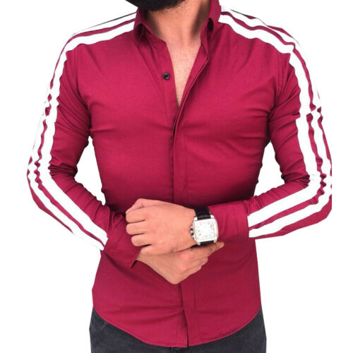 Stylish Mens Long Sleeve Oxford Shirt Striped Button Down Summer Work Casual Top