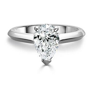 2.50 Ct Pear Cut Moissanite Engagement Ring 14K Bridal Solid White Gold Size 6 7
