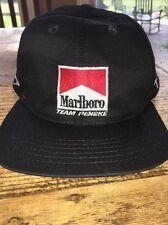 Vintage Marlboro Team Penske Black Snapback Hat Cap Nascar Trucker Signed
