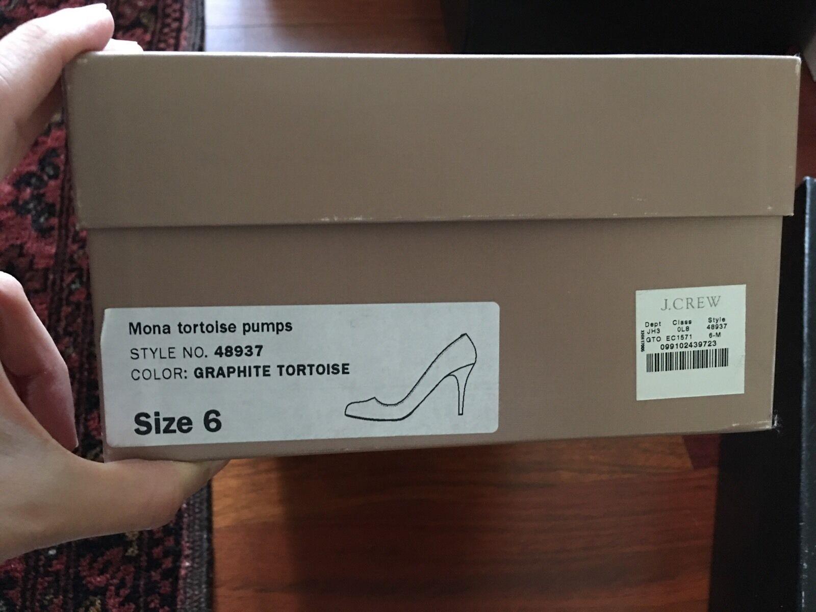 JCrew Mona Pump Leather, Heels, Graphite Tortoise, Patent Leather, Pump 6 ab2cea