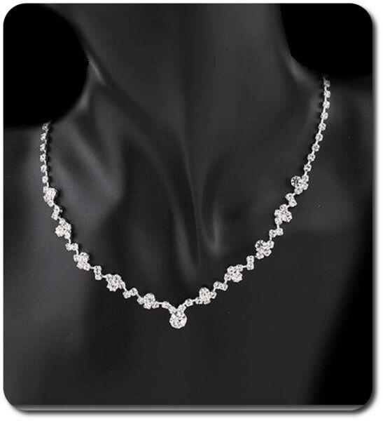 Ausdrucksvoll Halskette Halsband Kette Collier Kollier Strass Braut Hochzeit Klar/silber Geschickte Herstellung