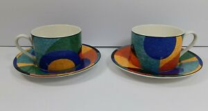Victoria-and-Beale-Accents-3-Cups-and-2-Saucers-Geometric-Art-Deco-9019