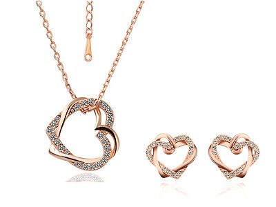18K Rose Gold Filled Women's Heart Pendant Necklace & Earrings Swarovski Crystal