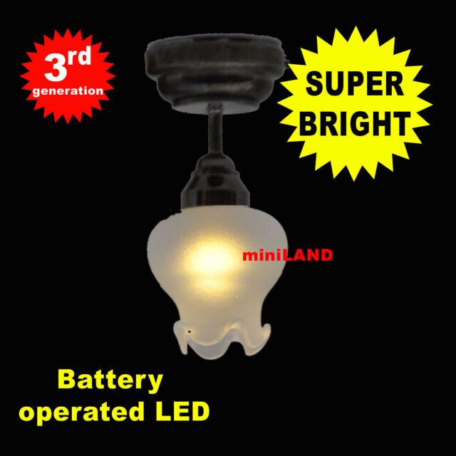 Bk Ceiling S SUPER bright battery operated LED LAMP Dollhouse miniature light