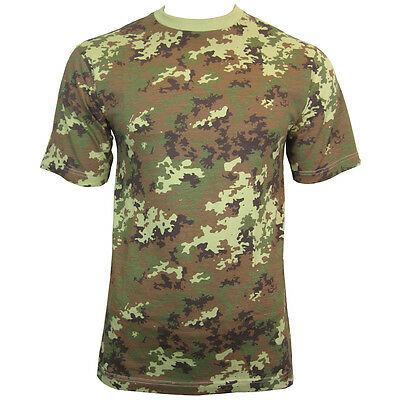 ITALIAN Vegetato Woodland Camo T-Shirts - ALL SIZES - Cotton Camouflage Tops