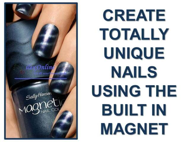SALLY HANSEN MAGNETIC NAIL VARNISH / POLISH #906 IONIC INDIGO - AMAZING RESULTS!