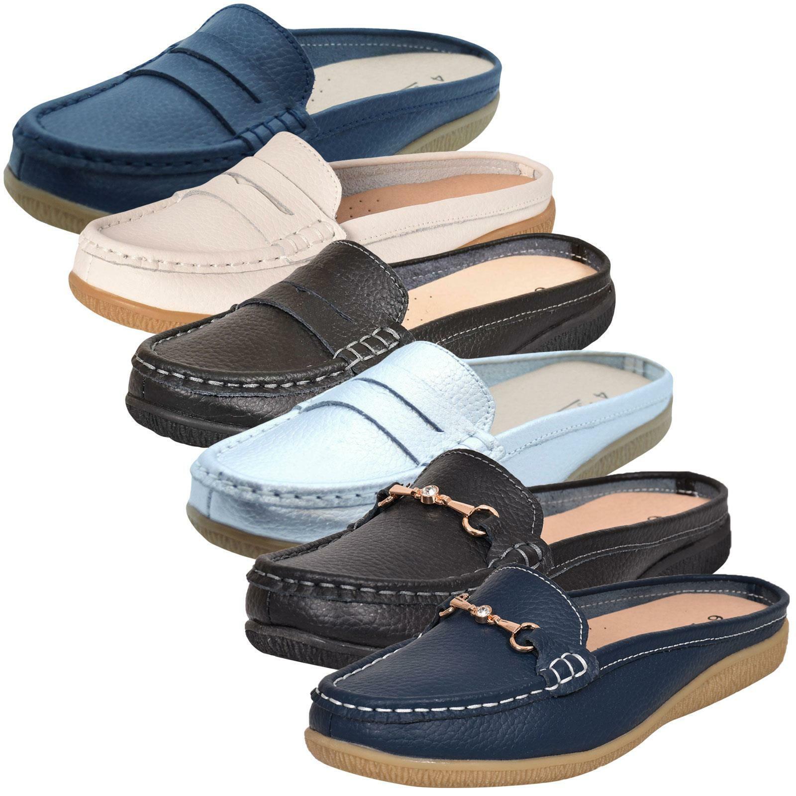 on feet images of new lifestyle classic styles Détails sur Femmes à Enfiler Cuir Sliders Mocassin Mocassins Mules  Chaussures- afficher le titre d'origine