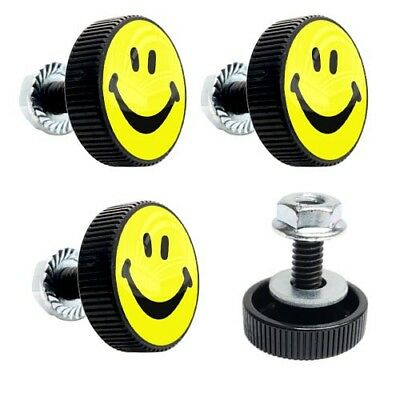 4 Black Billet Smile License Plate Frame Bolts Motorcycle Custom Tag Fastener