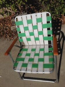 Astonishing Details About Aluminum Webbed Lounge Lawn Chair Folding Mid Century Vintage Retro Wood Armrest Squirreltailoven Fun Painted Chair Ideas Images Squirreltailovenorg