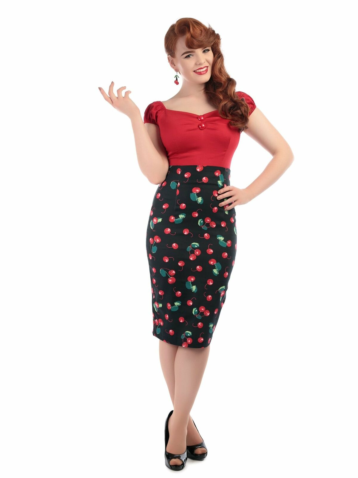 Collectif Mainline Fiona 50s Cherry Print Skirt Black UK10