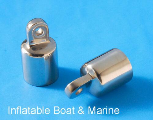 """7//8/'/""""  316 Marine Stainless Steel 2 Each Eye End Cap Bimini Top Fittings"""