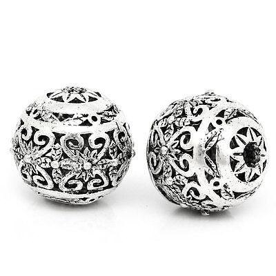 10 Antik Silber Hohle Gravur Muster Spacer Perlen Beads 11mm x 10mm