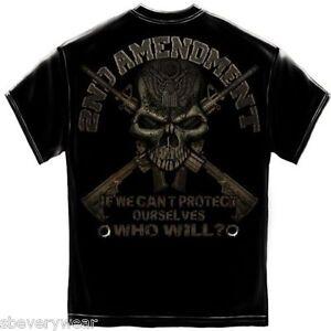 2nd-segunda-enmienda-Camiseta-Para-Hombres-Pistola-Rifle-AR-15-craneo-USA-NRA-2A-Tee-S-3XL