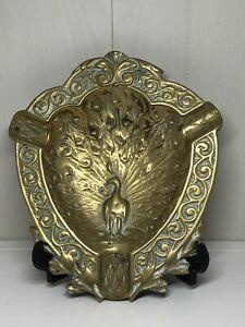 Antike Jugendstil französische deposè massiv Messing Schüssel Schale mit Pfau Detail