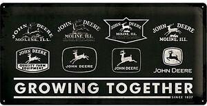John-Deere-Wachsende-Zusammen-Grosse-Gepraegtes-Metall-Zeichen-500mm-x-250mm-Na