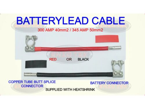 HEAVY DUTY BATTERY LEAD REPAIR CABLE  EARTH LIVE RED BLACK COPPER BUTT CONNECTOR