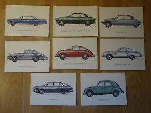 Mappe-8-Ansichtskarten-historische-Autos-Porsche-Mercedes-Wartburg-u-a