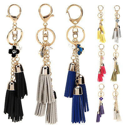 Artificial Leather Tassel Flower Pendant Charms Key Chain Bag Accessories Gifts
