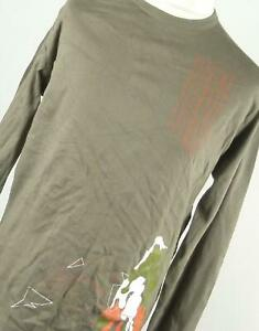 Grafico-preworn-Verde-Algodon-Camiseta-para-hombre-Talla-XL