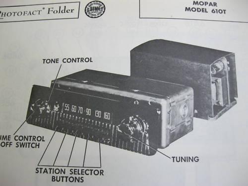 1953 DODGE TRUCK 610T RADIO PHOTOFACT