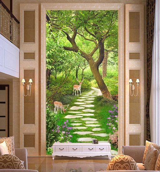 3D Foresta, cervi Parete Murale Foto Carta da parati immagine sfondo muro stampa