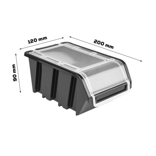 Box mit Deckel Wandregal 160x80 cm Stapelboxen Schüttenregal Sichtlag 36 stck