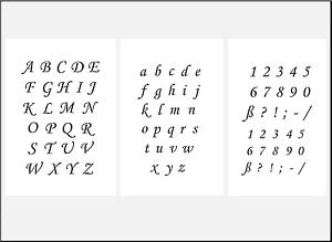 3er Schablonen Set Nr.39 Druckbuchstaben und Zahlen 2,5cm ABC Schriftschablonen