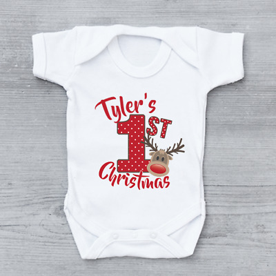 Personalised Gold Glitter 1st First Christmas Xmas Reindeers Baby Grow Bodysuit