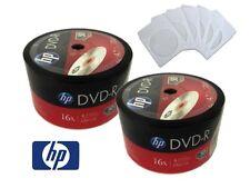 ON SALE! 100 Pack (50 x 2) HP Logo Blank 16x DVD-R Disc + 100 White Paper Sleeve
