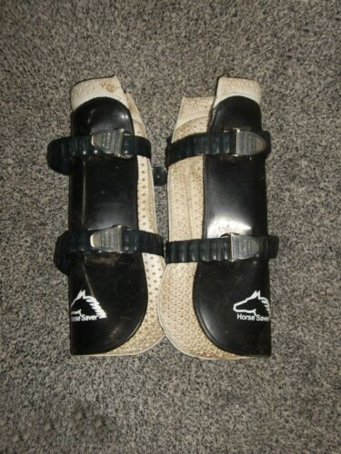 2 x Black & White Horse Saver Brushing Open Front Tendon Boots