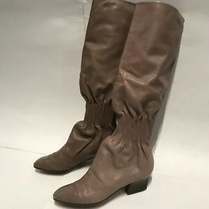 0ed1c2c5d32 Details about YSL YVES SAINT LAURENT Nude Leather Tall Knee High Boots Sz 7  US