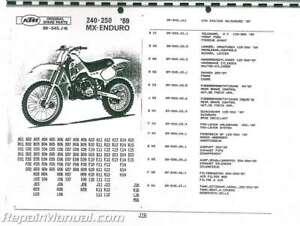 1989 Ktm 240 250 Mx Enduro Motorcycle Parts Manual Ebay