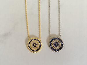 925-Sterling-Silver-Gold-Cubic-Zirconia-CZ-Evil-Eye-Greek-Mati-Nazar-Necklace