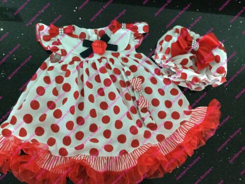Frilly Polka Dot Dress with Matching frilly Knickers Boutique Hair Jazziejems ❤️