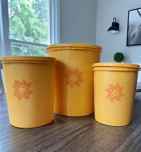 Vintage Tupperware Canisters Yellow Orange Flowers Lot Of 3
