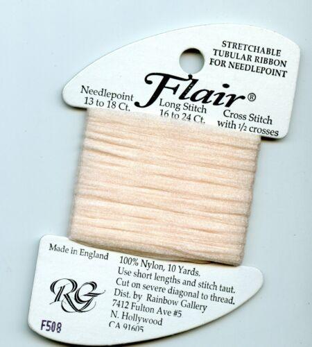 Rainbow Gallery Flair F508 Pink Blush Stretchable Tubular Ribbon Needlepoint 10y