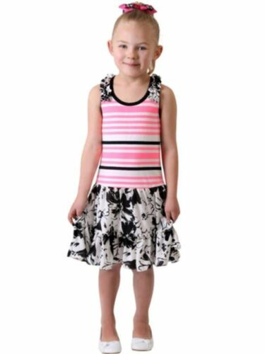 NEW Jona Michelle Girls/' Casual Sleeveless SUMMER Dresses Pink//Black Floral 5