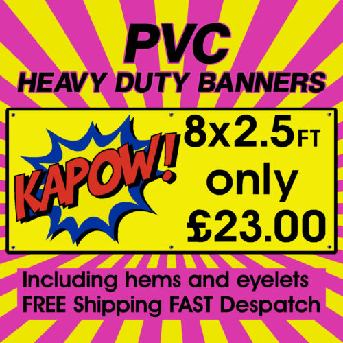 8x2.5ft PVC Banners Outdoor Vinyl Banner Advertising Sign Display Printed Banner