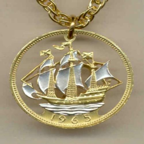1965 Half Penny Coin Gold and Silver Layered Nautical Ship Pendant with Necklace