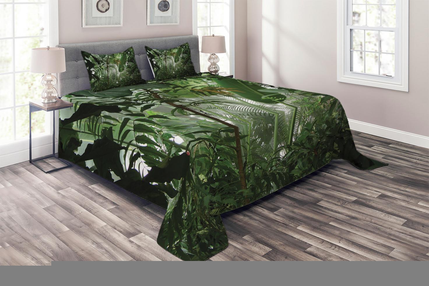 Grün Quilted Coverlet & & & Pillow Shams Set, Tropical Rainforest Wild Print 5a1978