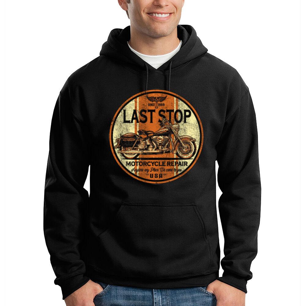 Last Stop Biker USA Motorcycle Repair Chopper Hooded Sweatshirt Hoodie