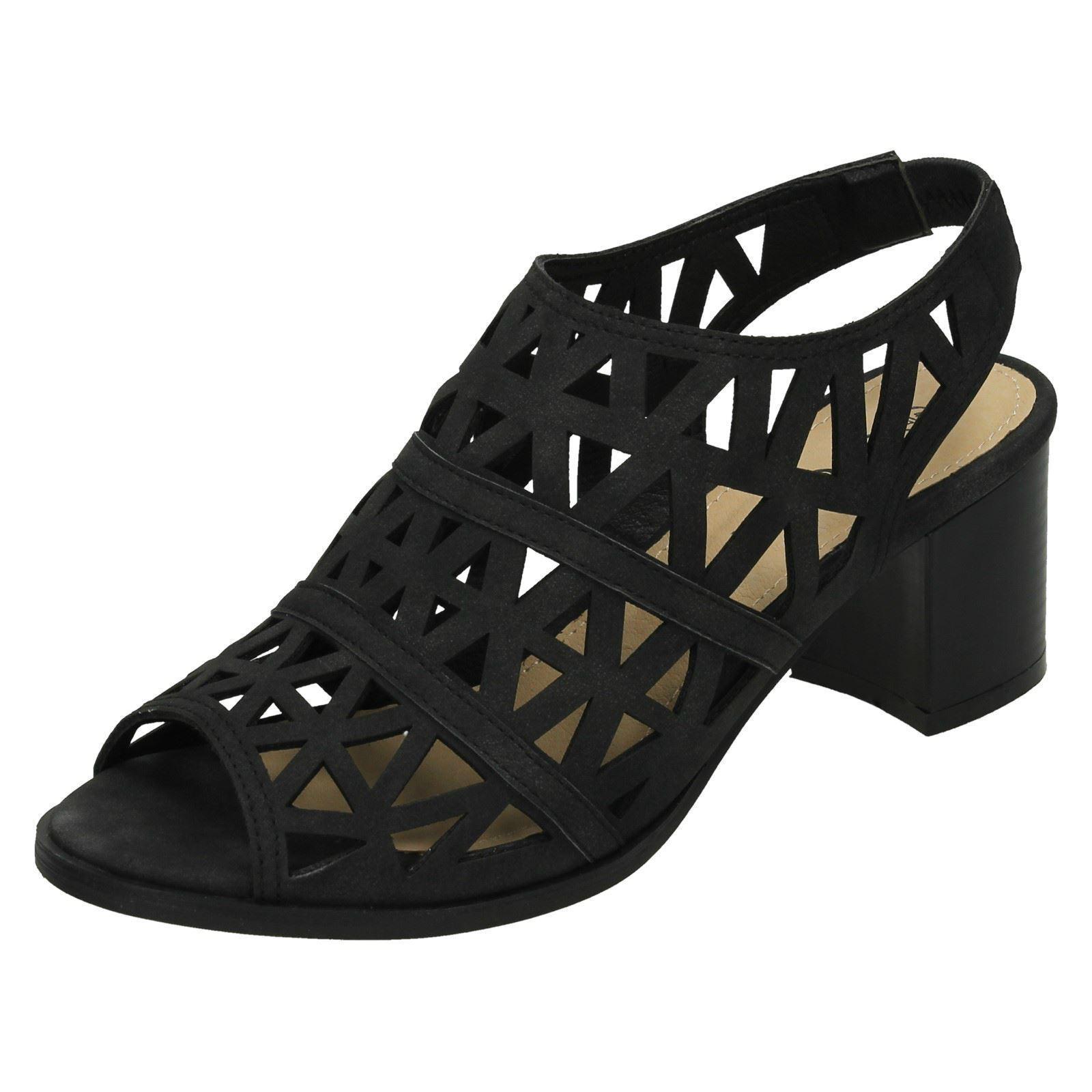 Spot Ladies On F10635 Ladies Spot Black Block Heel Sandals 2c4edf