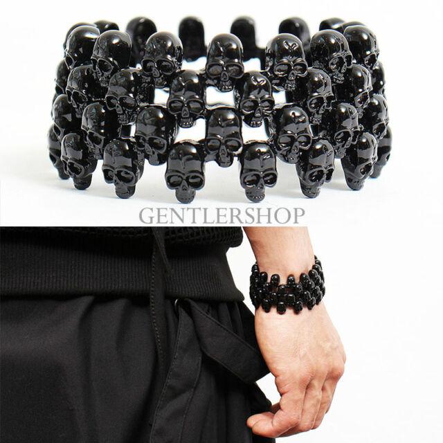 Mens Fashion Black Skull Beaded Cuff Stretch Bracelet - 79, GENTLERSHOP