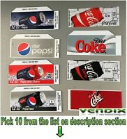 Pick 10 Flavor Tab Strips Soda Label Coke Pepsi Vending Machine Vendo Dixienarco