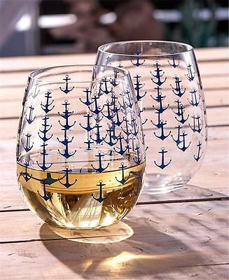 SET OF 2 DURABLE ACRYLIC NAUTICAL ANCHOR THEMED STEMLESS WINE GLASSES 16 OZ.