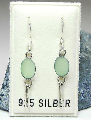 Liefern Neu 925 Silber OhrhÄnger Mit Perlmutt Hellgrün/grün Ohrringe Perfekte Verarbeitung