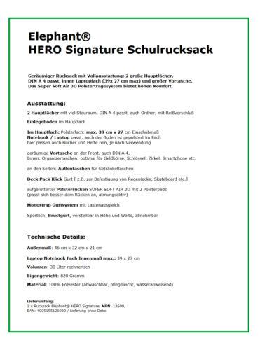 Rucksack Elephant Hero Signature Schulrucksack Schultasche 12609 Schwarz Grün R