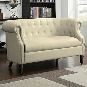 Beige Tufted Loveseat English Accent Living Room Wood